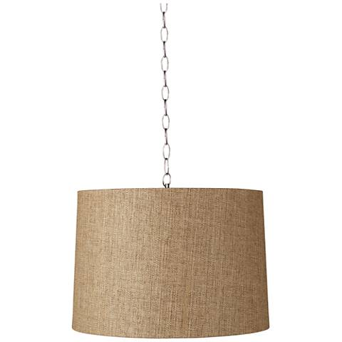 """Tan Woven 16"""" Wide Brushed Steel Shaded Pendant"""
