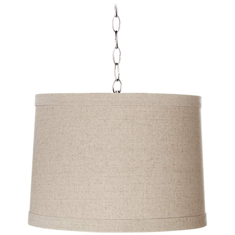 """Natural Linen 14"""" Wide Brushed Steel Shaded Pendant"""