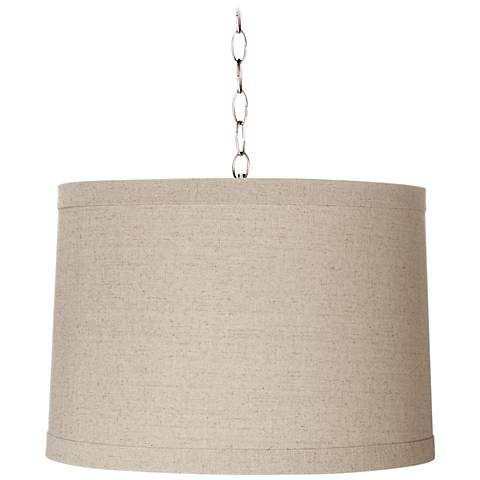"""Linen Drum 16"""" Wide Brushed Steel Shaded Pendant"""