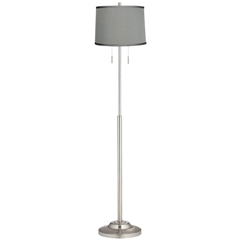 "Abba 13"" Wide Platinum Gray Shade Twin Pull Chain Floor Lamp"