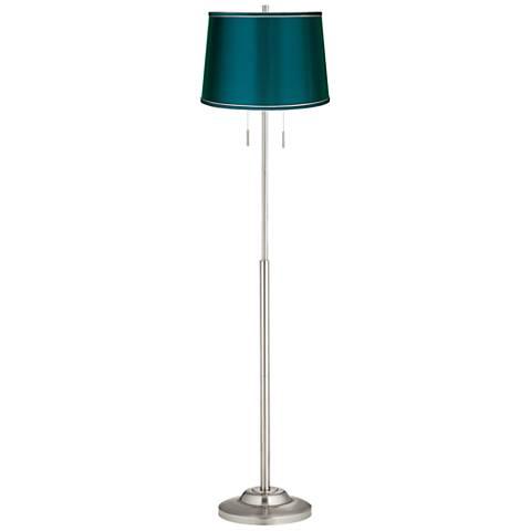 Abba Satin Teal Blue Drum Twin Pull Chain Floor Lamp