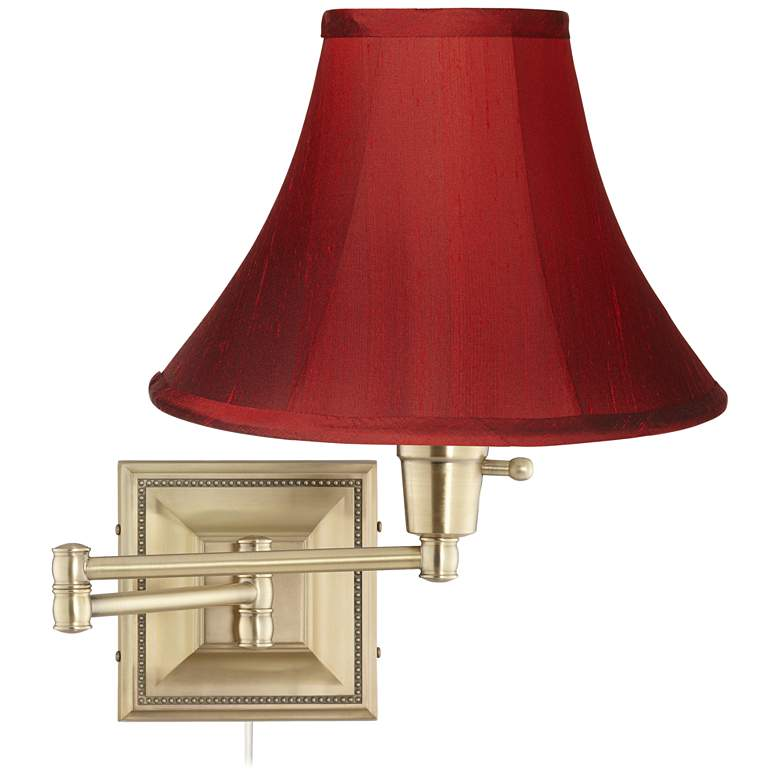 Brass with Red Dupioni Silk Shade Plug-In Swing Arm Wall Lamp