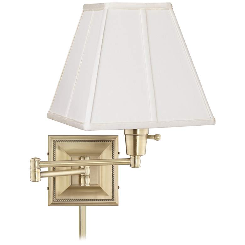 Ivory Square Shade Brass Beaded Swing Arm with Cord Cover