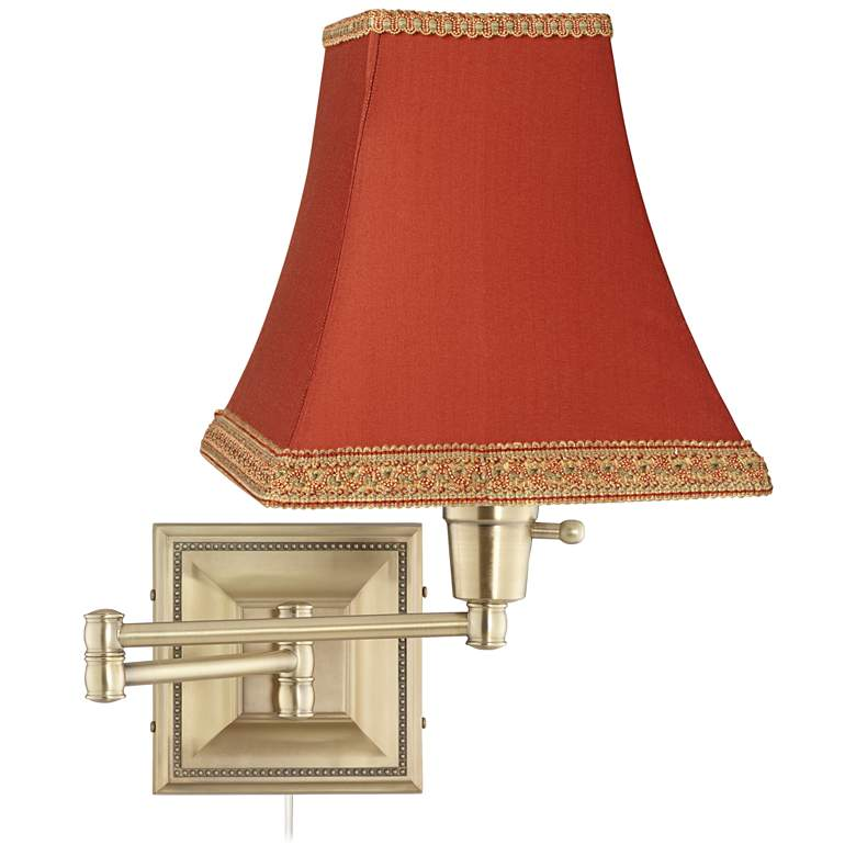Brass Rust Square Shade Plug-In Swing Arm Wall Lamp