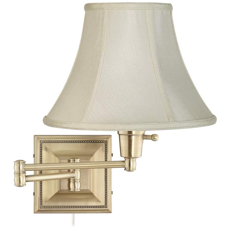 Creme Bell Shade Brass Beaded Plug-In Swing Arm Wall Lamp