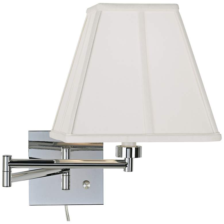 Ivory Square-Cut Shade Chrome Plug-In Swing Arm Wall Lamp
