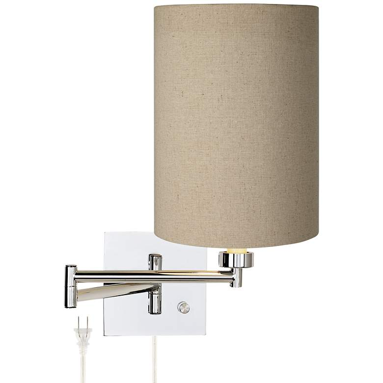Tan Cylinder Chrome Plug-In Swing Arm Wall Light