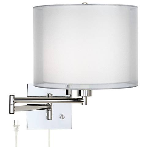 Double Sheer Silver Chrome Plug-In Swing Arm Wall Lamp