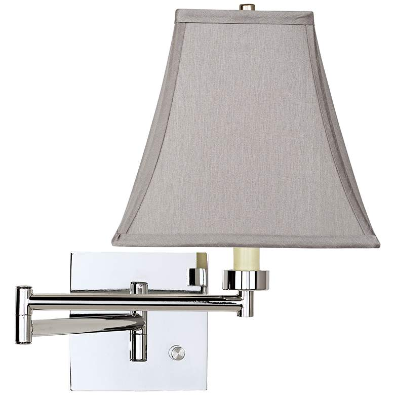 Pewter Gray Square Chrome Plug-In Swing Arm Wall