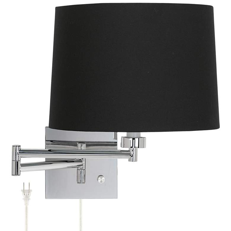 Black Fabric Drum Shade Plug-In Swing Arm Wall Lamp