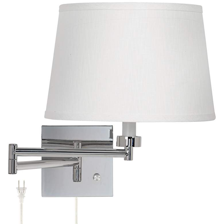 White Linen Drum Shade Chrome Plug-In Swing Arm Wall Lamp