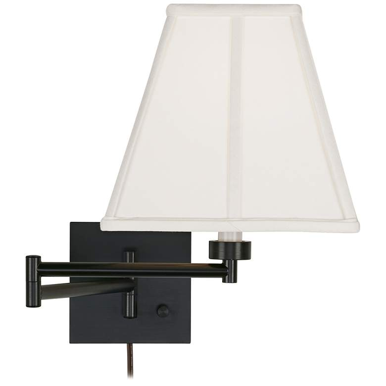 Ivory Square Shade Espresso Plug-In Swing Arm Wall Lamp