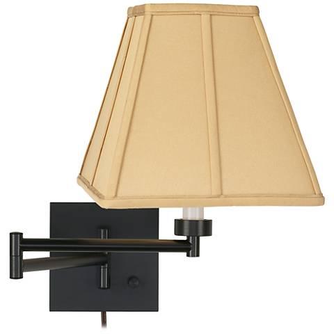 Tan Square-Cut Shade Espresso Plug-In Swing Arm Wall Lamp