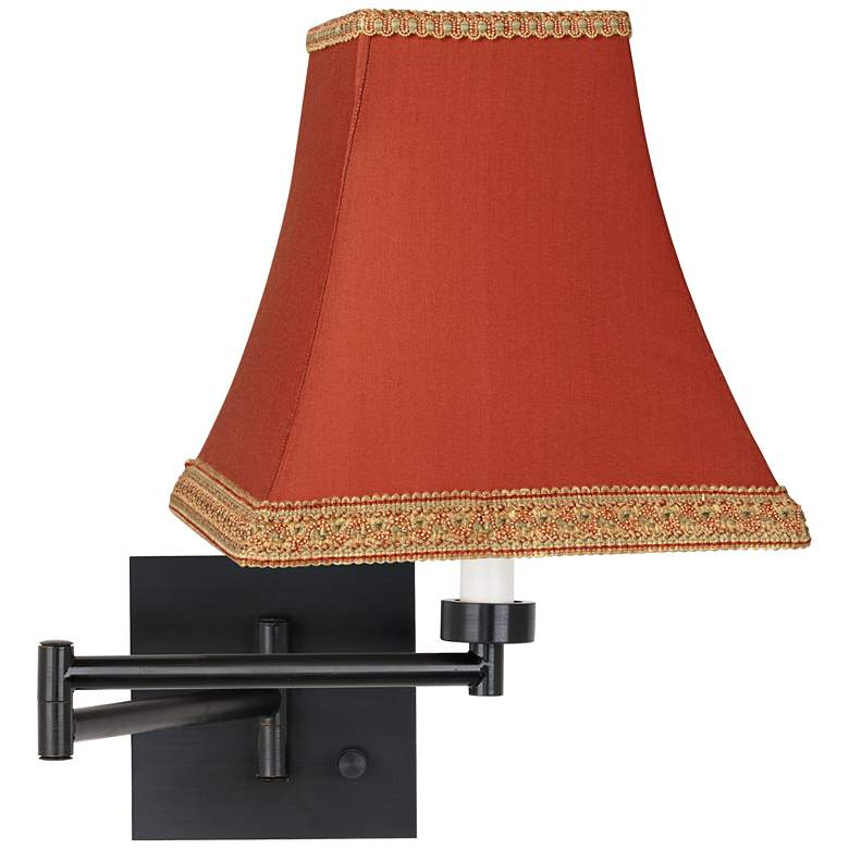 Rust Dimmable Espresso Finish Plug-in Swing Arm Lamp