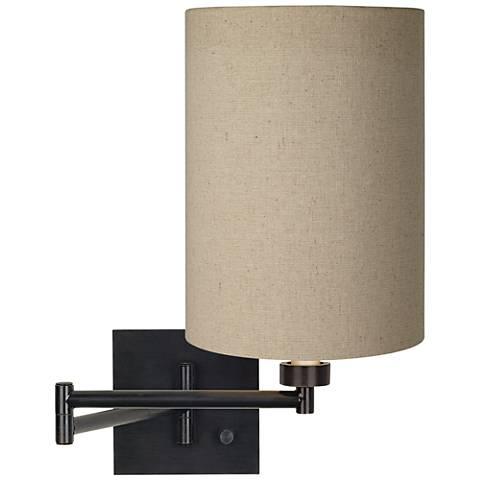 Tan Cylinder Shade Espresso Swing Arm Wall Light