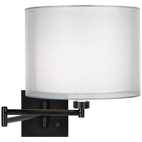 Double Sheer Silver Espresso Plug-In Swing Arm Wall Lamp