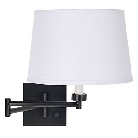 Espresso with White Linen Shade Swing Arm Wall Lamp