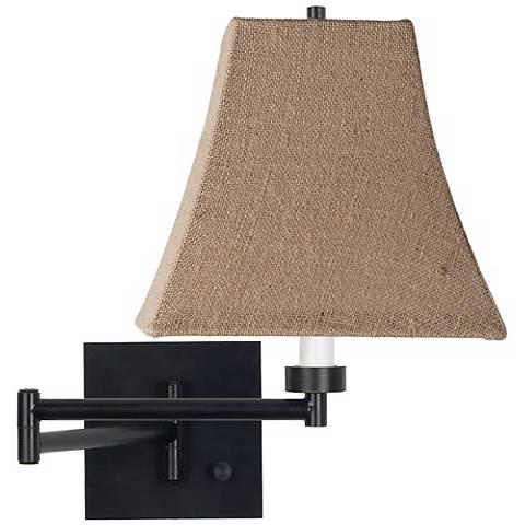 Burlap Square Shade Espresso Plug-In Swing Arm Wall Lamp