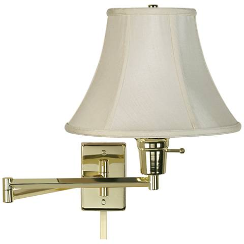 Creme Bell Polished Brass Plug-In Swing Arm with Cord Cover