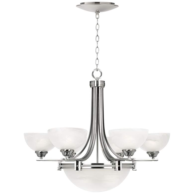 Possini Euro Deco Nickel 8-Light Chandelier with LED Canopy