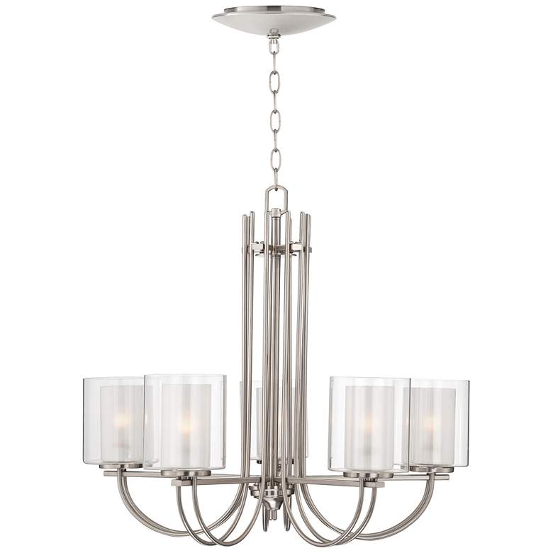"""Melody 26 3/4""""W Brushed Nickel Chandelier with LED Canopy"""
