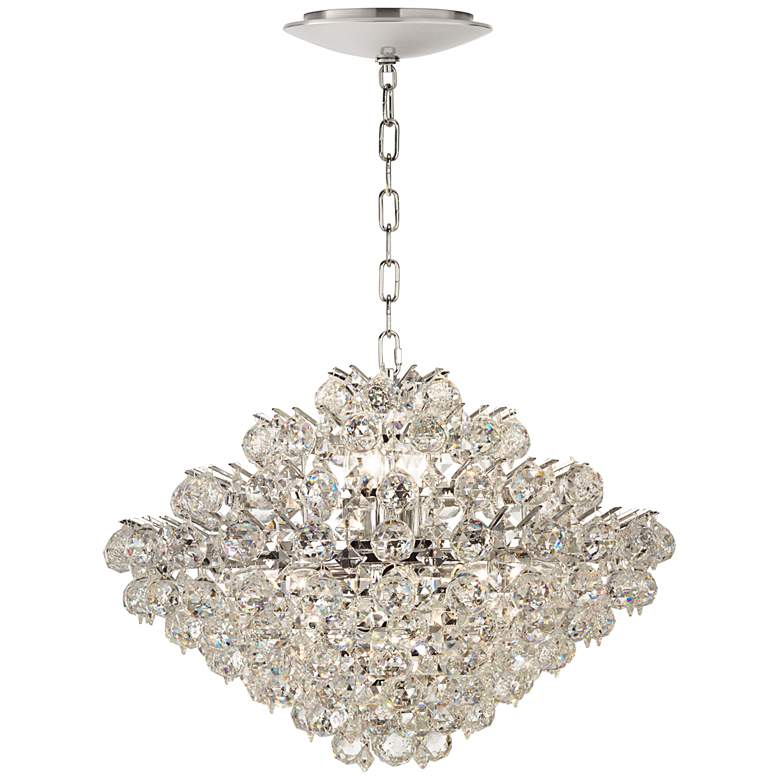 """Essa 24""""W Chrome and Crystal Pendant Light with LED Canopy"""