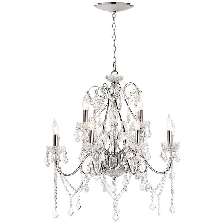 """Grace 30"""" Wide Crystal 12-Light Chandelier with LED Canopy"""