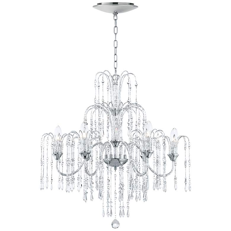 "Crystal Rain 29""W 6-Light Crystal Chandelier with LED Canopy"