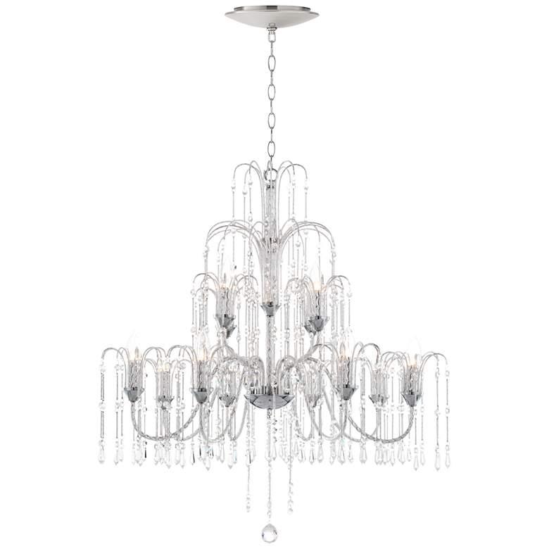 "Crystal Rain 33""W Crystal Chandelier with LED Canopy"