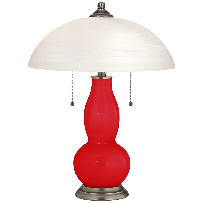 Bright Red Gourd-Shaped Table Lamp with Alabaster Shade