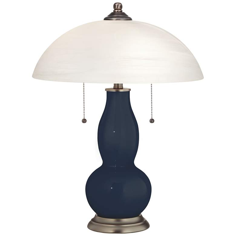 Naval Gourd-Shaped Table Lamp with Alabaster Shade