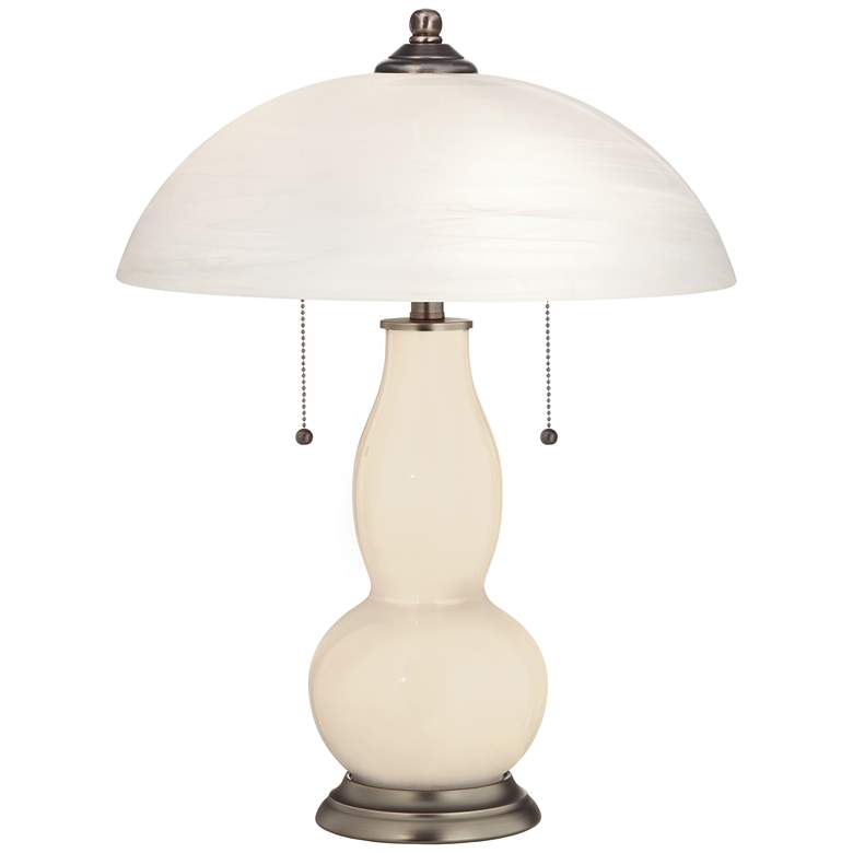 Steamed Milk Gourd-Shaped Table Lamp with Alabaster Shade