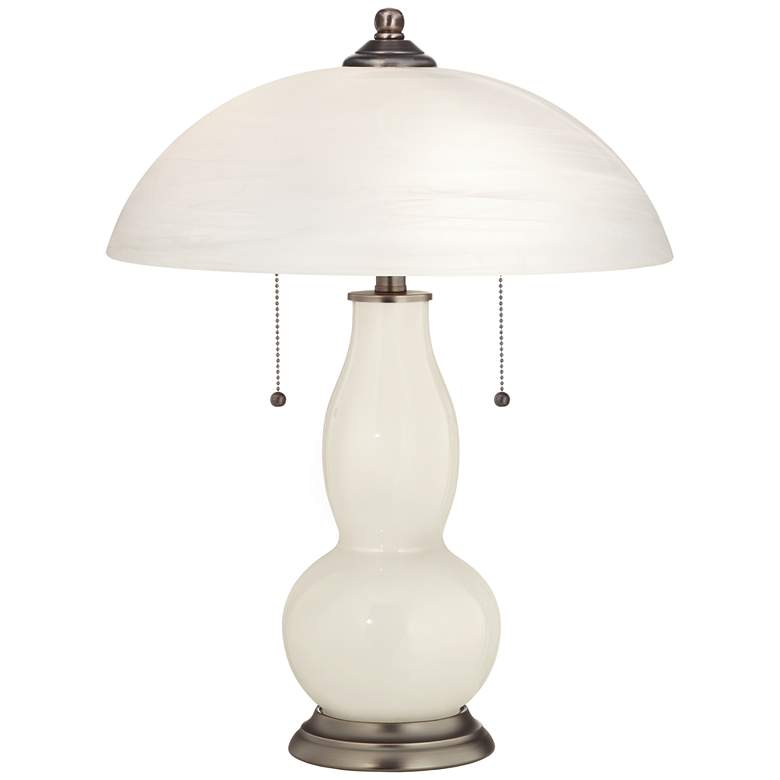 West Highland White Gourd-Shaped Table Lamp with Alabaster