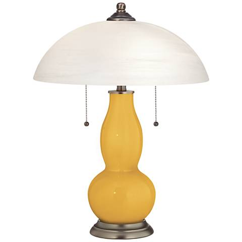 Goldenrod Gourd-Shaped Table Lamp with Alabaster Shade