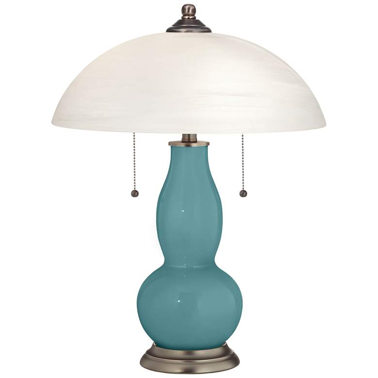 Reflecting Pool Gourd-Shaped Table Lamp with Alabaster Shade