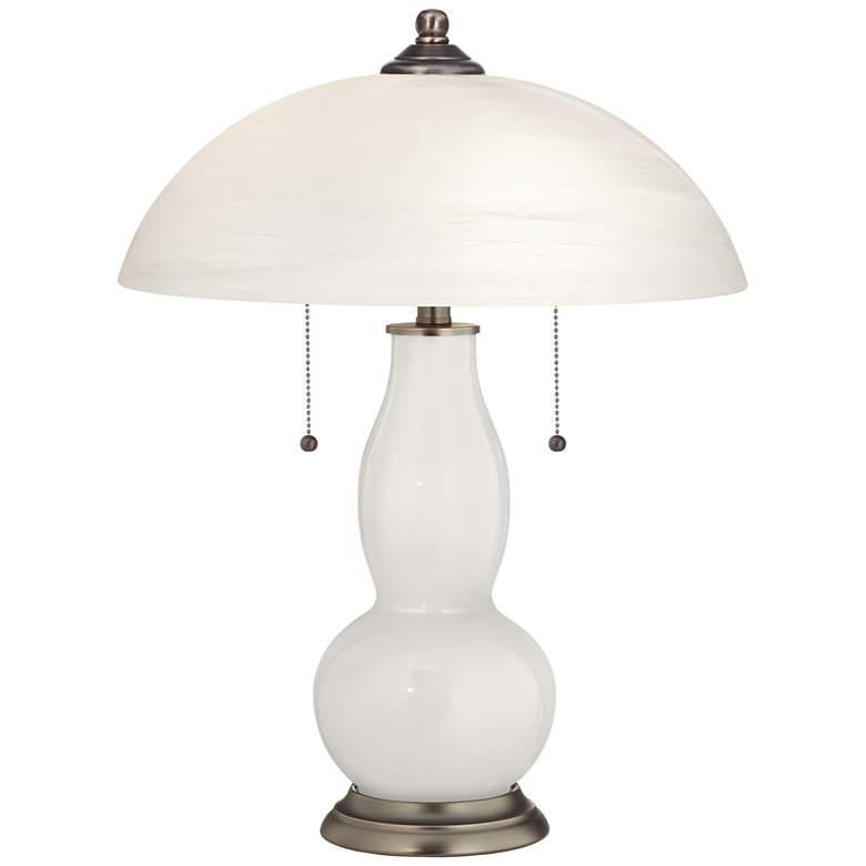 Winter White Gourd-Shaped Table Lamp with Alabaster Shade