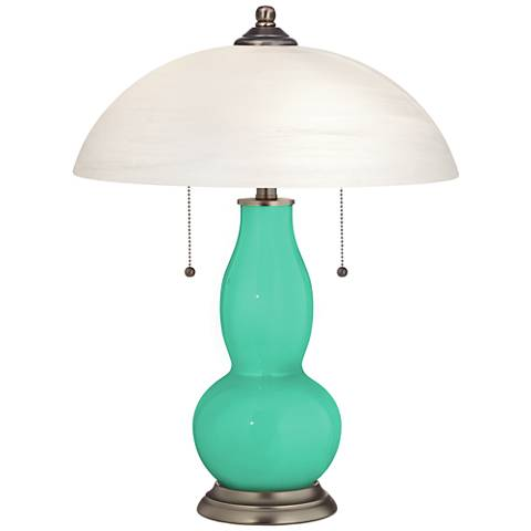 Turquoise Gourd-Shaped Table Lamp with Alabaster Shade