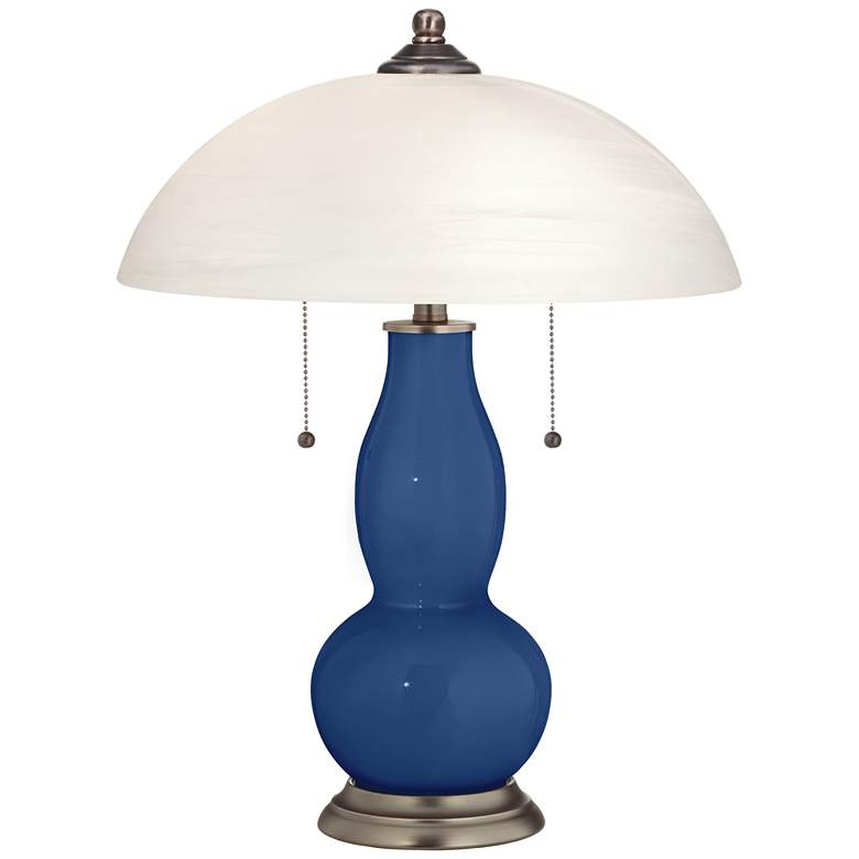 Monaco Blue Gourd-Shaped Table Lamp with Alabaster Shade