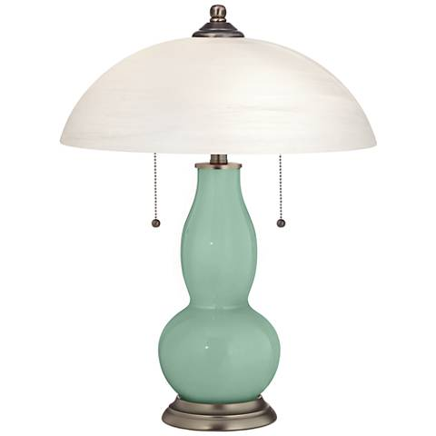 Grayed Jade Gourd-Shaped Table Lamp with Alabaster Shade