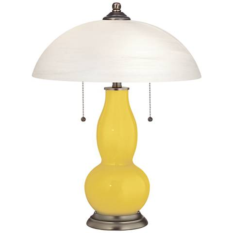 Lemon Zest Gourd Shaped Table Lamp With Alabaster Shade 17h48