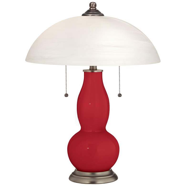 Ribbon Red Gourd-Shaped Table Lamp with Alabaster Shade