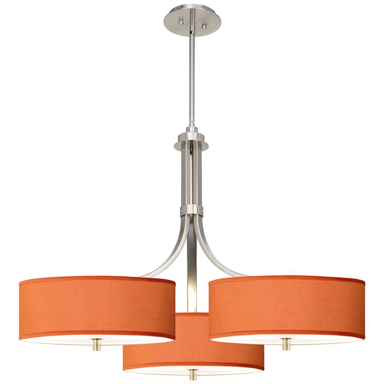 "Orange Polyester 36"" Wide Triple Shade Pendant"