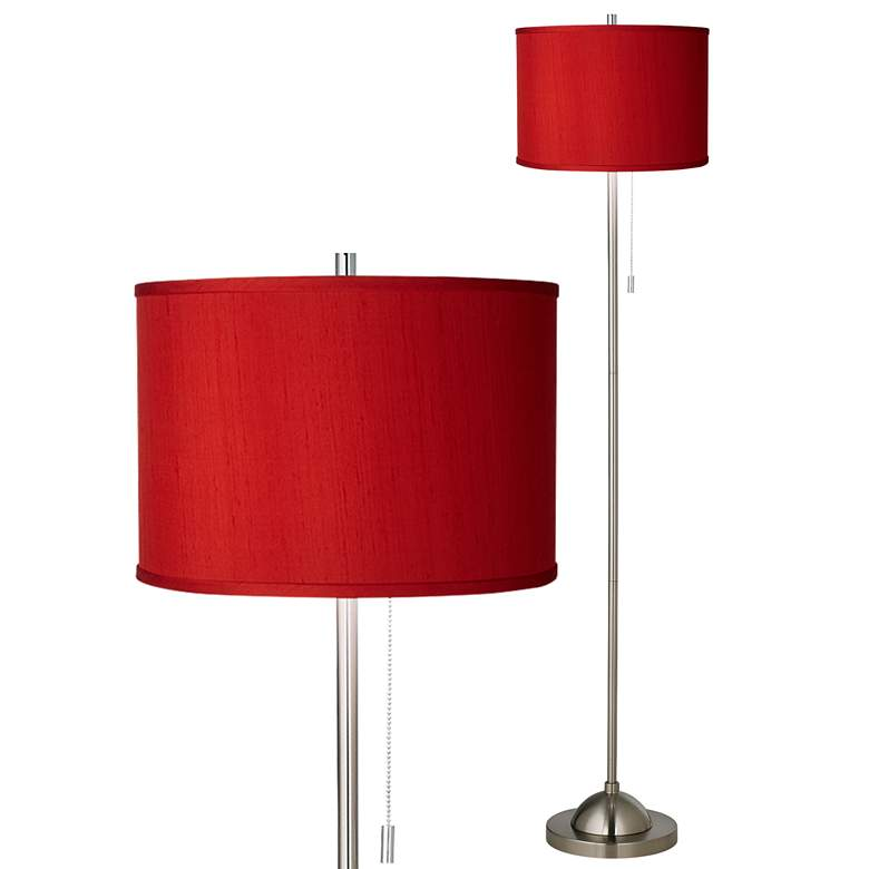 Red Textured polyester Brushed Nickel Pull Chain Floor Lamp