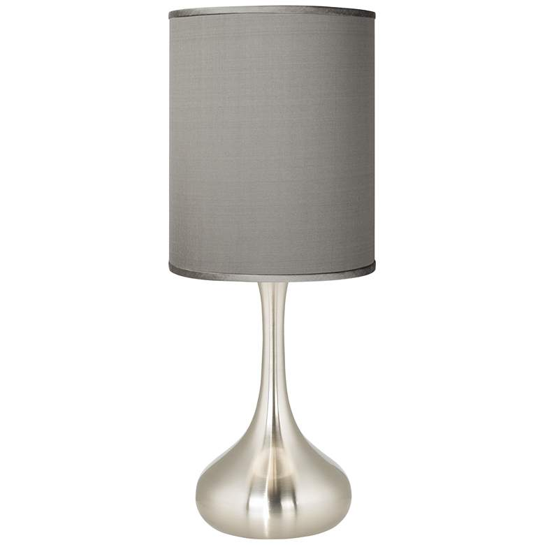 Gray Polyester Brushed Nickel Droplet Table Lamp
