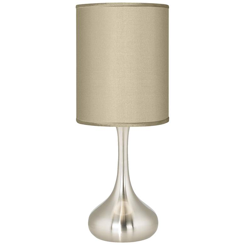 Sesame Faux Silk Brushed Nickel Droplet Table Lamp