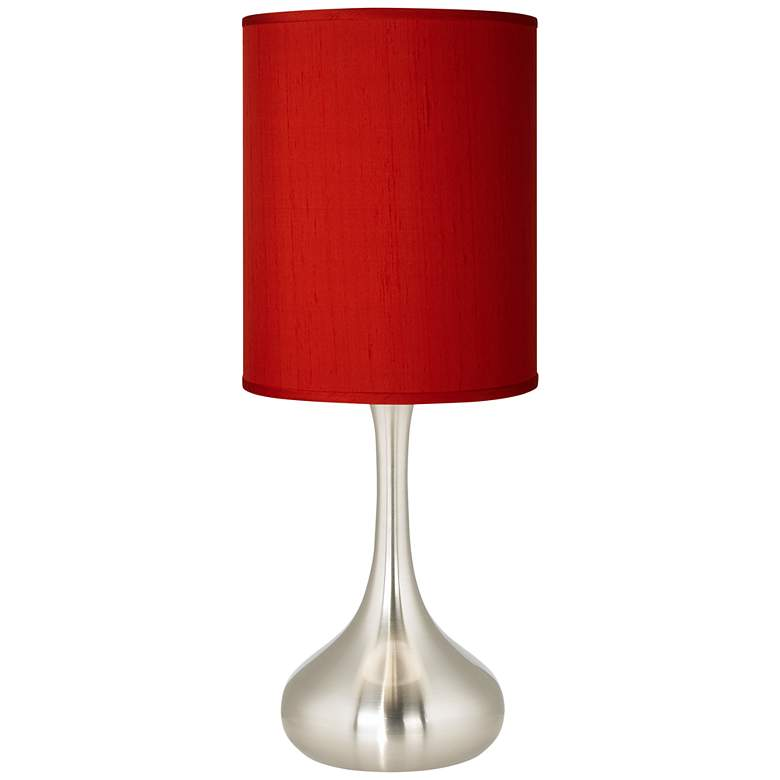 Red Textured Faux Silk Brushed Nickel Droplet Table Lamp