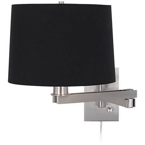 Possini Euro Design Black Drum Shade Plug-In Swing Arm
