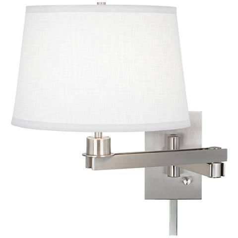 Possini Euro Design White Linen Swing Arm with Cord Cover