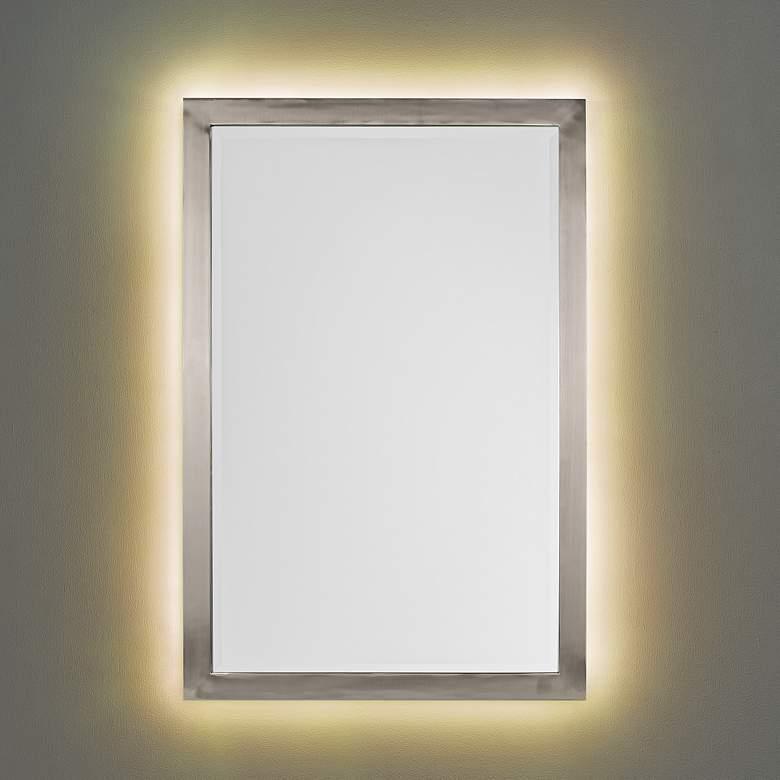 "Possini Euro Metzeo Brushed Nickel 22"" x 33"" LED Wall Mirror"