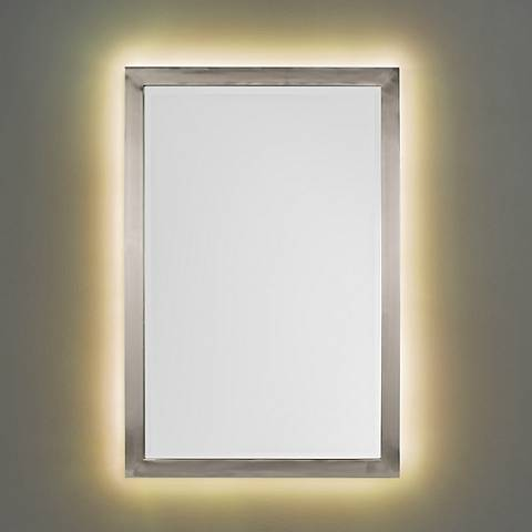 "Metzeo Brushed Nickel 22"" x 33"" Wall Mirror w/ LED Light Kit"